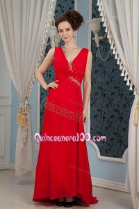 2014 Exquisite V-neck Red Mother of the Dresses with Beading