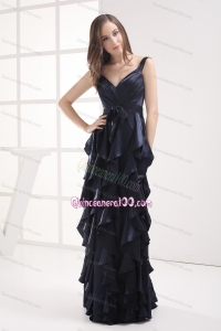 2014 Luxurious Navy Blue Mother of the Dresses with Ruffled Layers and Ruching