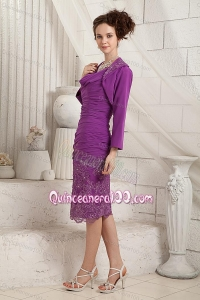 2014 Remarkable V-neck Eggplant Purple Mother Of The Dress with Appliques