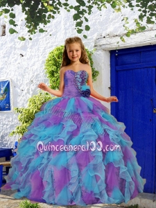 Cheap Beading and Ruffles Purple and Blue Little Girl Pageant Dress with Hand Made Flower