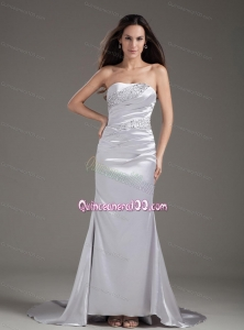 Cheap and Modern Mother of the Dresses with Beading and Ruching in Silver