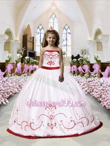 Embroidery Satin Little Girl Pageant Dress in White