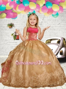 Gold Embroidery Little Girl Pageant Dress with Ruffles