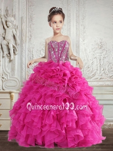 Hot Selling Beading and Ruffles Little Girl Pageant Dress in Fuchsia
