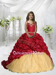 Spaghetti Straps Pick Ups Little Girl Pageant Dress with Sweep Train