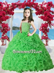 Spring Green Organza Ruffles Little Girl Pageant Dress with Beading