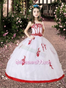 White and Red Little Girl Pageant Dress with Appliques
