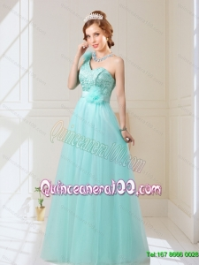Classical Empire Lace Up Hand Made Flowers Dama Dresses in Mint