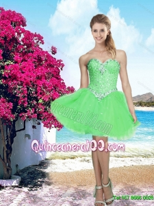 2015 New Arrival Spring Green Sweetheart Dama Dress with Beading
