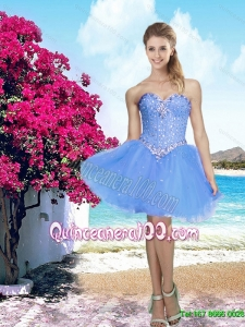 New Style 2015 Summer Lavender Sweetheart Dama Dresses with Beading
