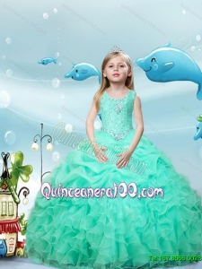 New Style Scoop Beaded Apple Green Little Girl Pageant Dresses with Pick Ups and Ruffles