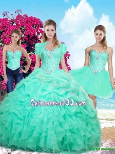 Perfect Summer Ruffles and Beaded Detachable Sweet 16 Dresses in Apple Green