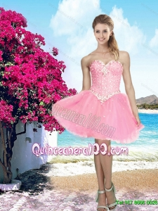 Summer 2015 Pretty Pink Sweetheart Dama Dress with Beading for Cocktail