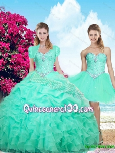 Summer Top Seller Sweetheart Beaded Apple Green Detachable Quinceanera Dresses with Ruffles
