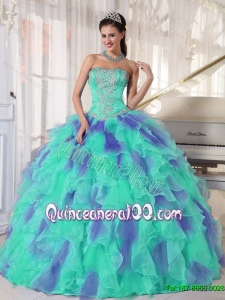 2015 Summer Elegant Multi Color Strapless Appliques Quinceanera Dresses with Beading
