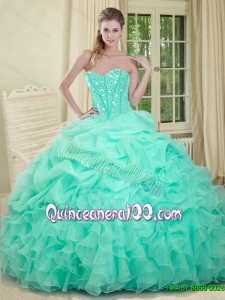 2015 Summer Elegant Apple Green Quinceanera Dresses with Beading and Ruffles