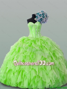 2015 Beautiful Sweetheart Yellow Green Beading Quinceanera Dresses with Ruffles
