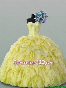 2015 Luxurious Quinceanera Dresses with Beading and Ruffles
