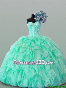 2015 Summer Beautiful Sweetheart Quinceanera Dresses with Beading and Ruffles