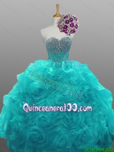 2016 Summer Beautiful Sweetheart Beaded Quinceanera Dresses with Rolling Flowers