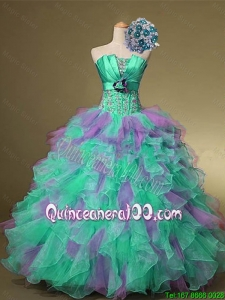 2016 Summer Top Seller Strapless Quinceanera Dresses with Beading and Ruffles