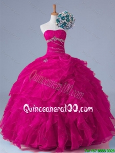2016 Fall Elegant Strapless Beaded Quinceanera Gowns in Fuchsia