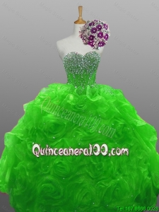 2016 Fall Elegant Sweetheart Quinceanera Dresses with Beading and Rolling Flowers