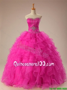 2016 Summer New Style Sweetheart Ball Gown Sweet 16 Dresses in Hot Pink