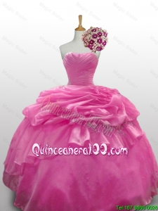 2016 Summer New Style Sweetheart Rose Pink Quinceanera Dresses with Paillette