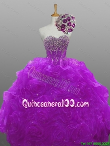 2016 Summer Perfect Quinceanera Dresses with Beading and Rolling Flowers