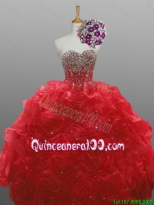 2016 Summer Perfect Sweetheart Quinceanera Dresses with Beading and Rolling Flowers