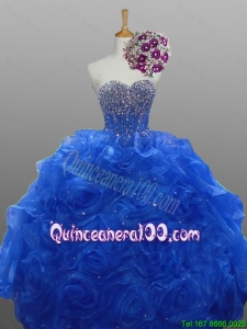 2016 Summer Top Seller Sweetheart Quinceanera Dresses with Beading and Rolling Flowers