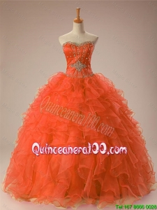 New Arrival 2016 Summer Sweetheart Beaded Quinceanera Gowns in Organza