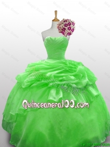 Perfect Strapless Beading Quinceanera Gowns in Spring Green