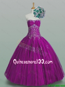 2015 Elegant Strapless Beaded Quinceanera Dresses with Appliques