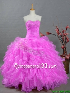 2015 Perfect Sweetheart Quinceanera Dresses with Beading and Ruffles