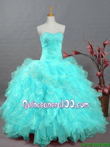 2015 Pretty Sweetheart Beaded Quinceanera Dresses in Organza