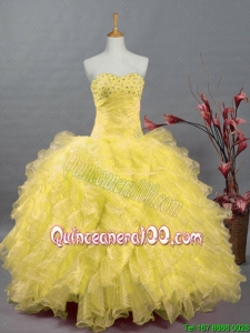 2016 Fall Elegant Beaded and Ruffles Quinceanera Dresses in Organza