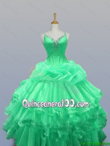 2016 Fall Elegant Straps Quinceanera Dresses with Beading and Ruffled Layers