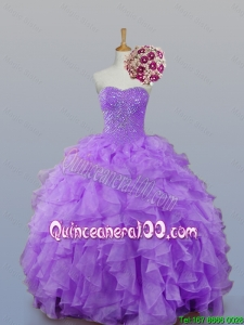 2016 Fall Elegant Sweetheart Quinceanera Dresses with Beading and Ruffles
