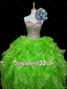 2016 Summer Luxurious Ball Gown Apple Green Quinceanera Dresses with Sequins and Ruffles