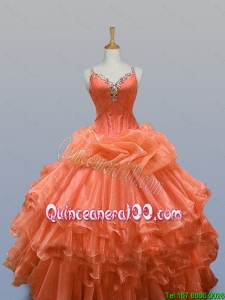 2016 Summer Perfect Straps Quinceanera Dresses with Beading and Ruffled Layers