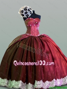 2016 Summer Perfect Sweetheart Lace Quinceanera Gowns in Taffeta