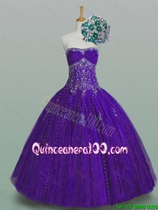 2016 Summer Top Seller Strapless Quinceanera Dresses with Beading and Appliques