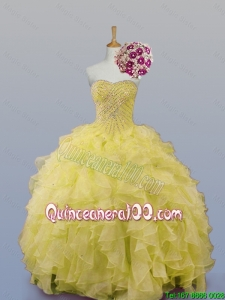 2016 Summer Top Seller Sweetheart Dress for Quince with Beading and Ruffles