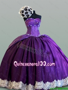 Beautiful Ball Gown Sweetheart Quinceanera Dresses with Lace for 2015 Fall