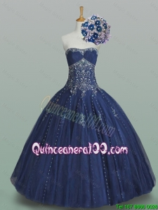 Elegant 2015 Summer Ball Gown Strapless Beaded Quinceanera Dresses in Navy Blue