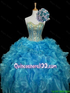 Elegant 2016 Summer Sweetheart Sequins and Ruffles Quinceanera Dresses in Blue