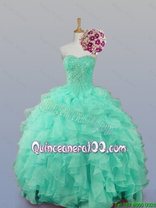 Luxurious 2016 Fall Sweetheart Quinceanera Dresses with Beading and Ruffles