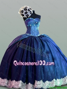Luxurious Quinceanera Dresses with Lace in Navy Blue for 2015